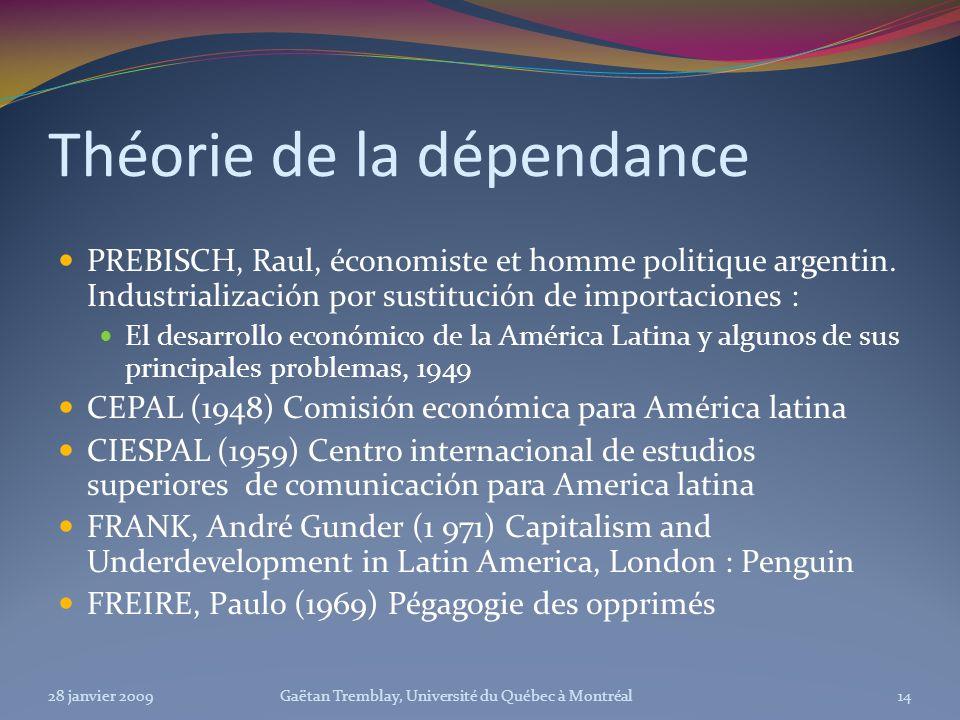 Théorie de la dépendance PREBISCH, Raul, économiste et homme politique argentin. Industrialización por sustitución de importaciones : El desarrollo ec