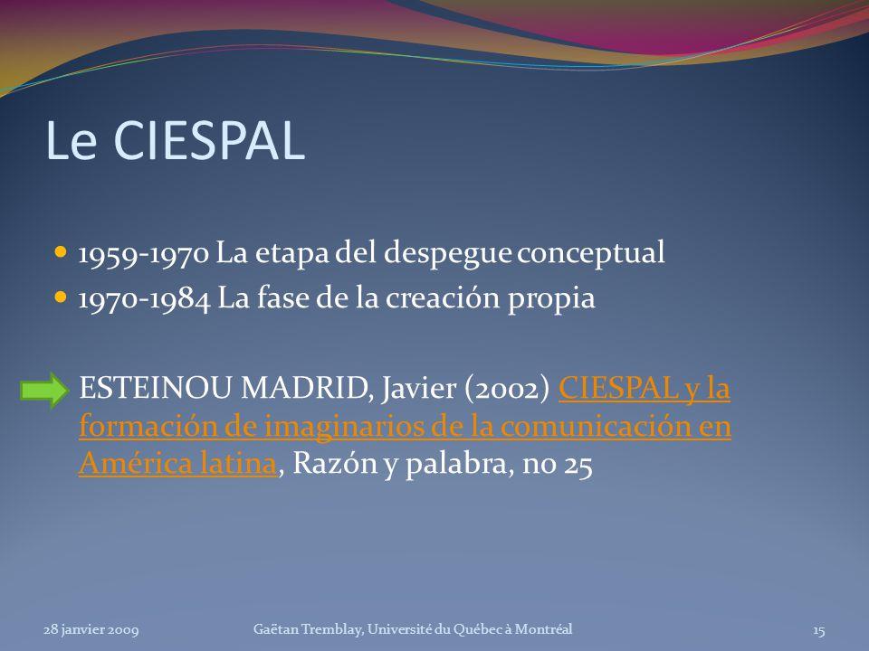 Le CIESPAL 1959-1970 La etapa del despegue conceptual 1970-1984 La fase de la creación propia ESTEINOU MADRID, Javier (2002) CIESPAL y la formación de