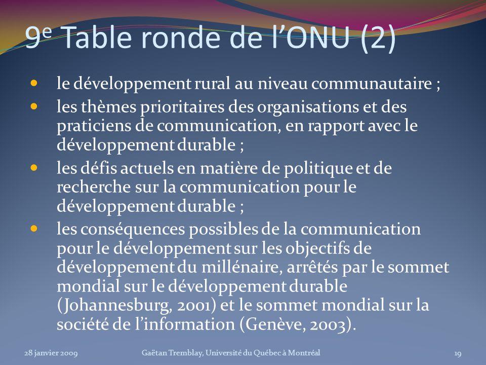 9 e Table ronde de lONU (2) le développement rural au niveau communautaire ; les thèmes prioritaires des organisations et des praticiens de communicat