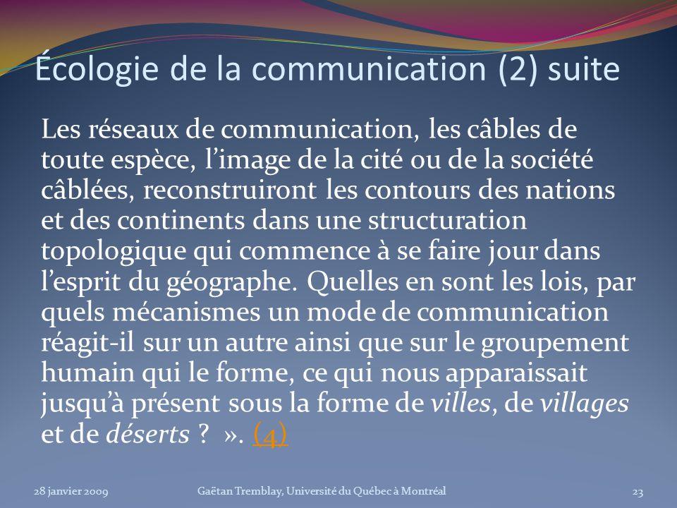 Écologie de la communication (2) suite Les réseaux de communication, les câbles de toute espèce, limage de la cité ou de la société câblées, reconstru