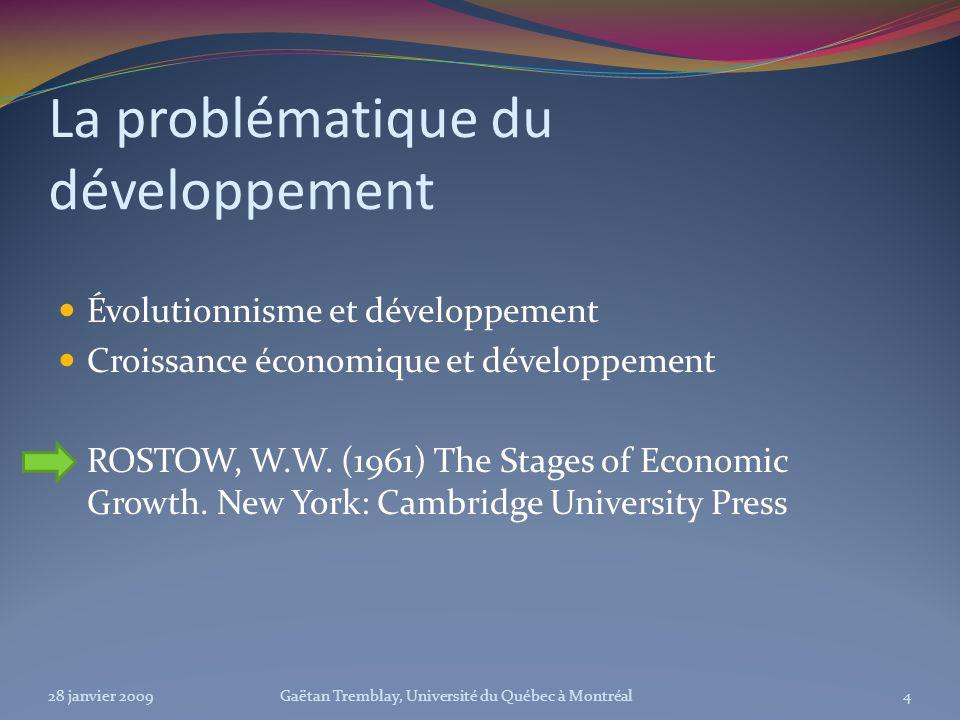 La problématique du développement Évolutionnisme et développement Croissance économique et développement ROSTOW, W.W. (1961) The Stages of Economic Gr