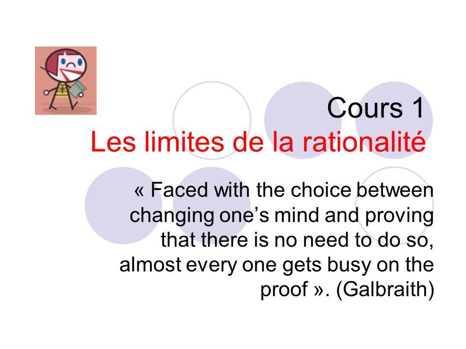 Système 1 Intuition Système 2 Raisonnement Parallèle, rapide, automatique sans effort, napprend pas rapidement Lent, sériel, contrôlé, Effort, gouverné par des règles, flexible Stimuli Perception Représentations Conceptuelles