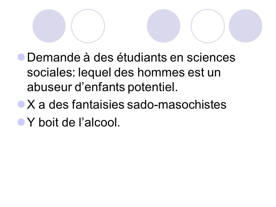 Demande à des étudiants en sciences sociales: lequel des hommes est un abuseur denfants potentiel. X a des fantaisies sado-masochistes Y boit de lalco