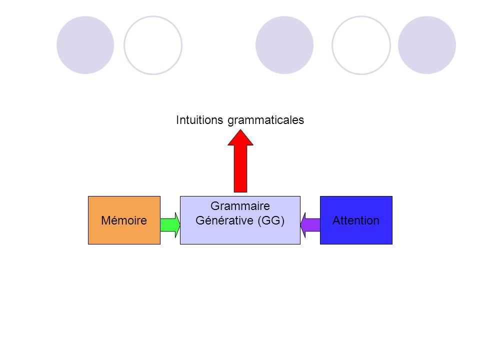 Intuitions grammaticales Grammaire Générative (GG)