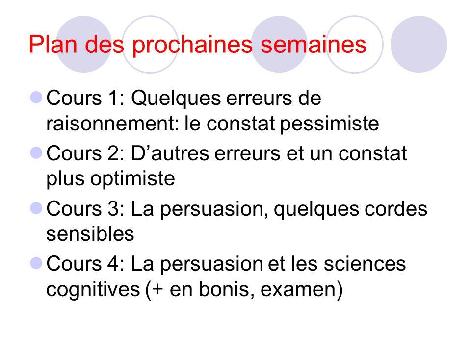 Plan des prochaines semaines Cours 1: Quelques erreurs de raisonnement: le constat pessimiste Cours 2: Dautres erreurs et un constat plus optimiste Cours 3: La persuasion, quelques cordes sensibles Cours 4: La persuasion et les sciences cognitives (+ en bonis, examen)