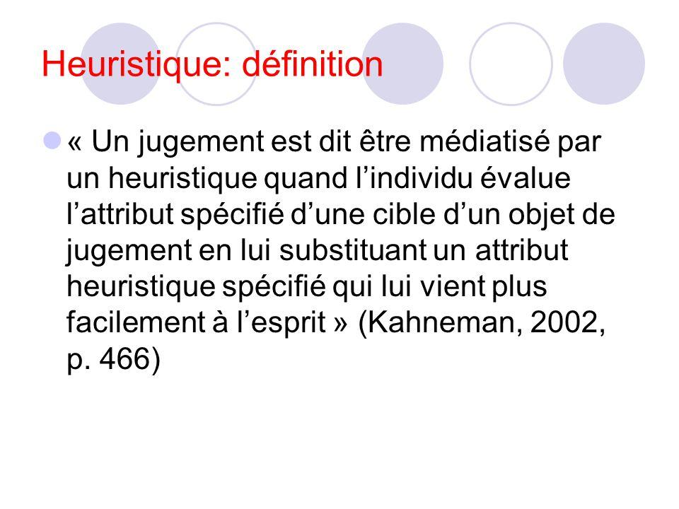 Heuristique et biais Heuristique : méthode de raisonnement simplifiée, approximative (un truc) Ex : savoir que 234923948620397023972395 est impair en