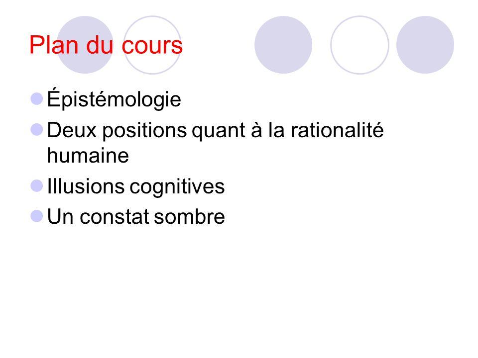 Plan du cours Épistémologie Deux positions quant à la rationalité humaine Illusions cognitives Un constat sombre
