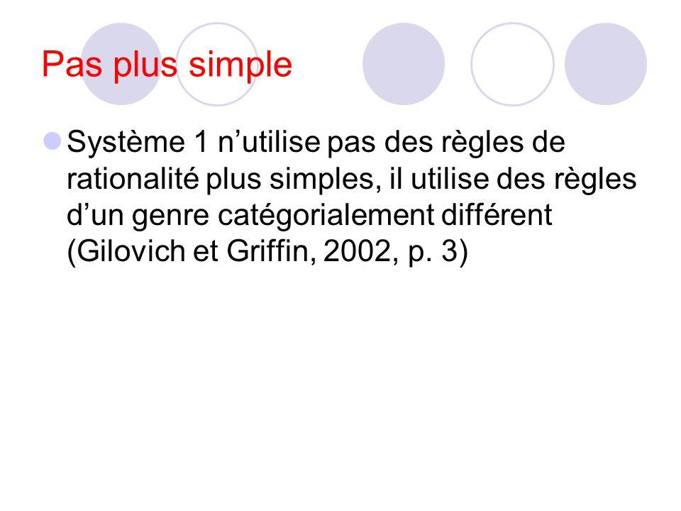 Système 1 génère des intuitions (parfois erronées) Système 2 génère des jugements (peut corriger les intuitions). Le constat est que le système 2 nent
