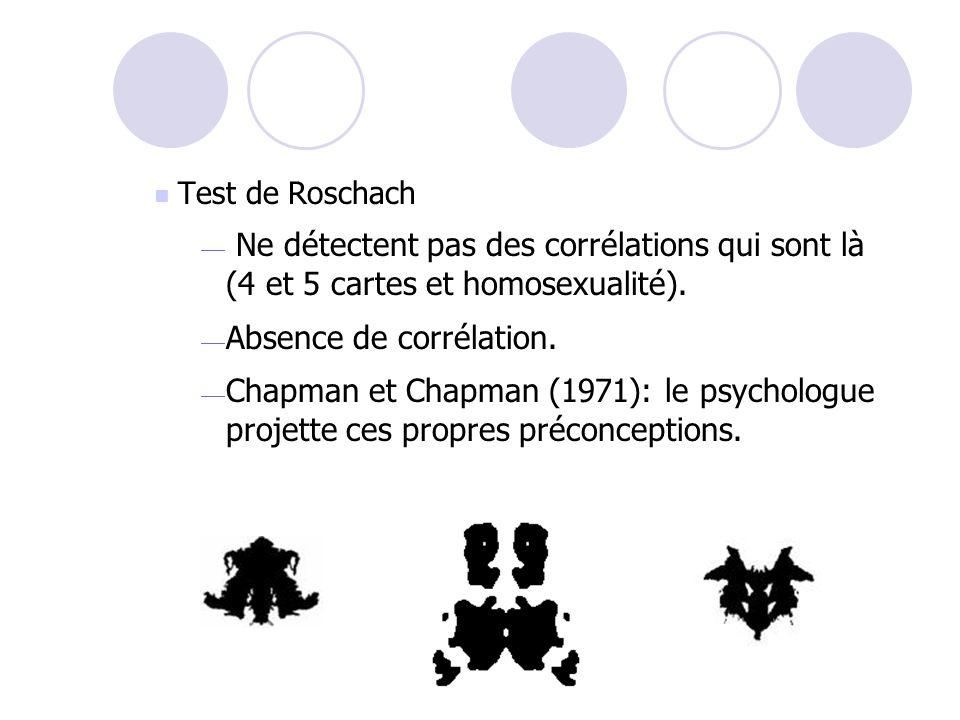Corrélations illusoires Le test Dessine Une Personne (DUP) Détectent des corrélations qui ne sont pas là (yeux et paranoïa, grosseur de la tête et dou