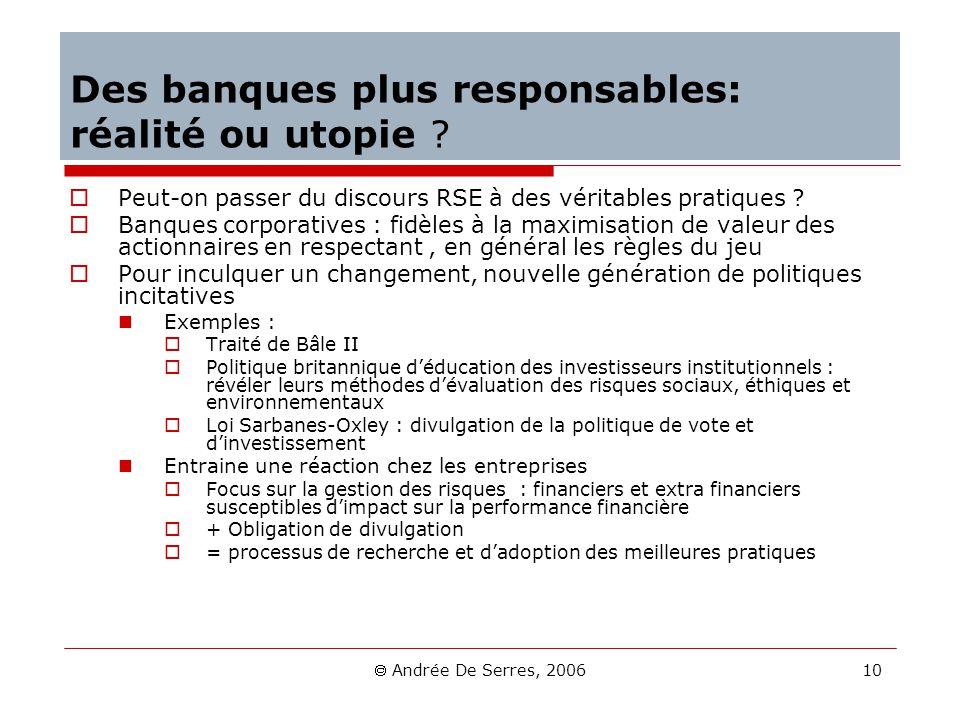 Andrée De Serres, 2006 10 Des banques plus responsables: réalité ou utopie ? Peut-on passer du discours RSE à des véritables pratiques ? Banques corpo
