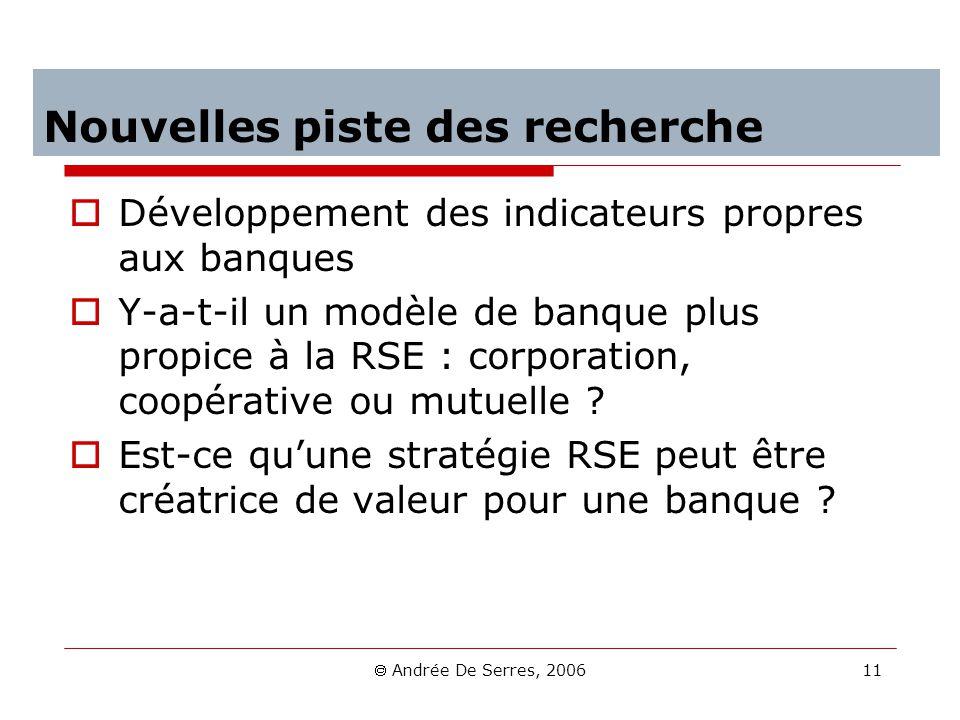 Andrée De Serres, 2006 11 Nouvelles piste des recherche Développement des indicateurs propres aux banques Y-a-t-il un modèle de banque plus propice à