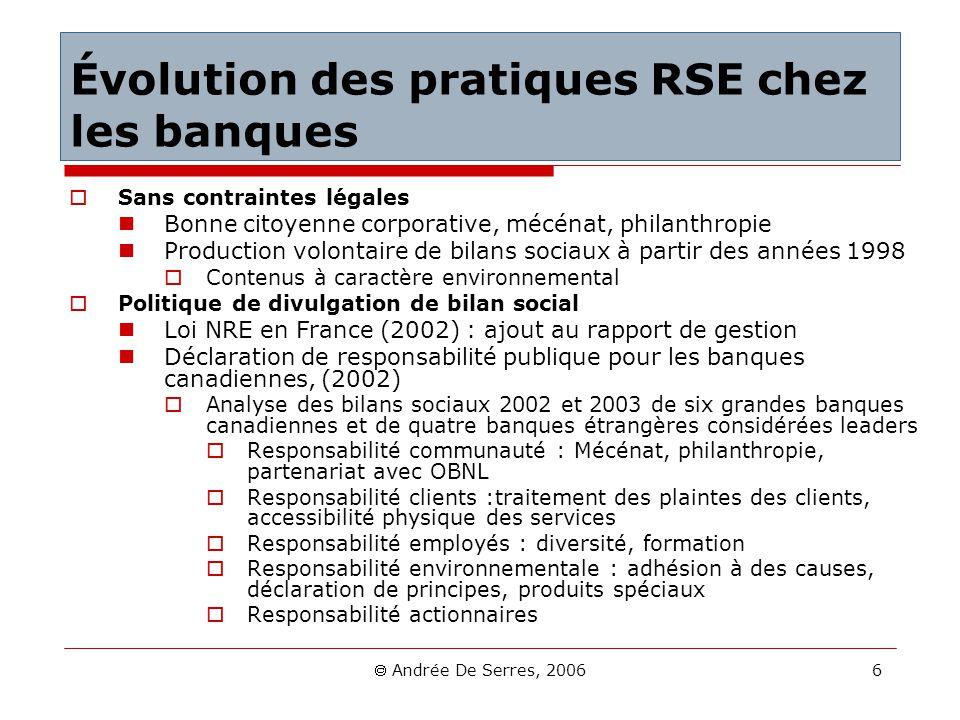 Andrée De Serres, 2006 6 Évolution des pratiques RSE chez les banques Sans contraintes légales Bonne citoyenne corporative, mécénat, philanthropie Pro
