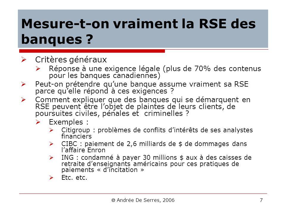 Andrée De Serres, 2006 7 Mesure-t-on vraiment la RSE des banques ? Critères généraux Réponse à une exigence légale (plus de 70% des contenus pour les