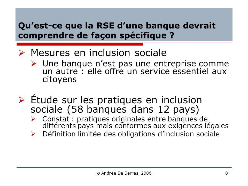 Andrée De Serres, 2006 8 Quest-ce que la RSE dune banque devrait comprendre de façon spécifique ? Mesures en inclusion sociale Une banque nest pas une