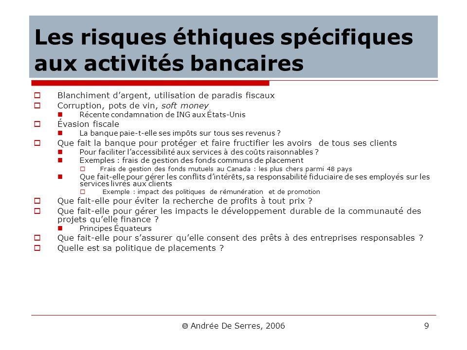 Andrée De Serres, 2006 9 Les risques éthiques spécifiques aux activités bancaires Blanchiment dargent, utilisation de paradis fiscaux Corruption, pots