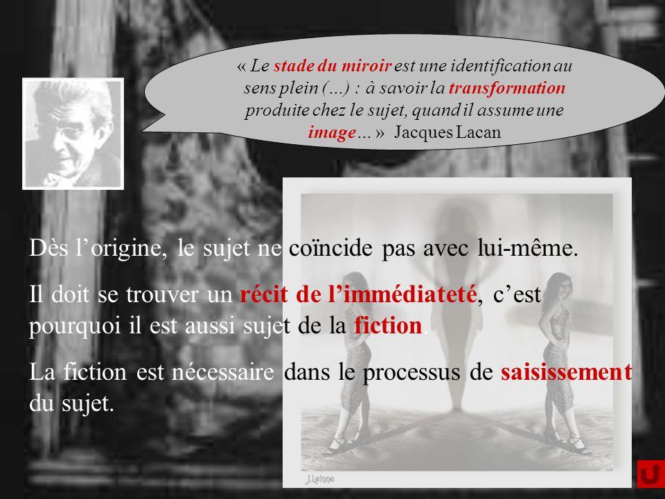 « Le stade du miroir est une identification au sens plein (…) : à savoir la transformation produite chez le sujet, quand il assume une image… » Jacques Lacan Dès lorigine, le sujet ne coïncide pas avec lui-même.