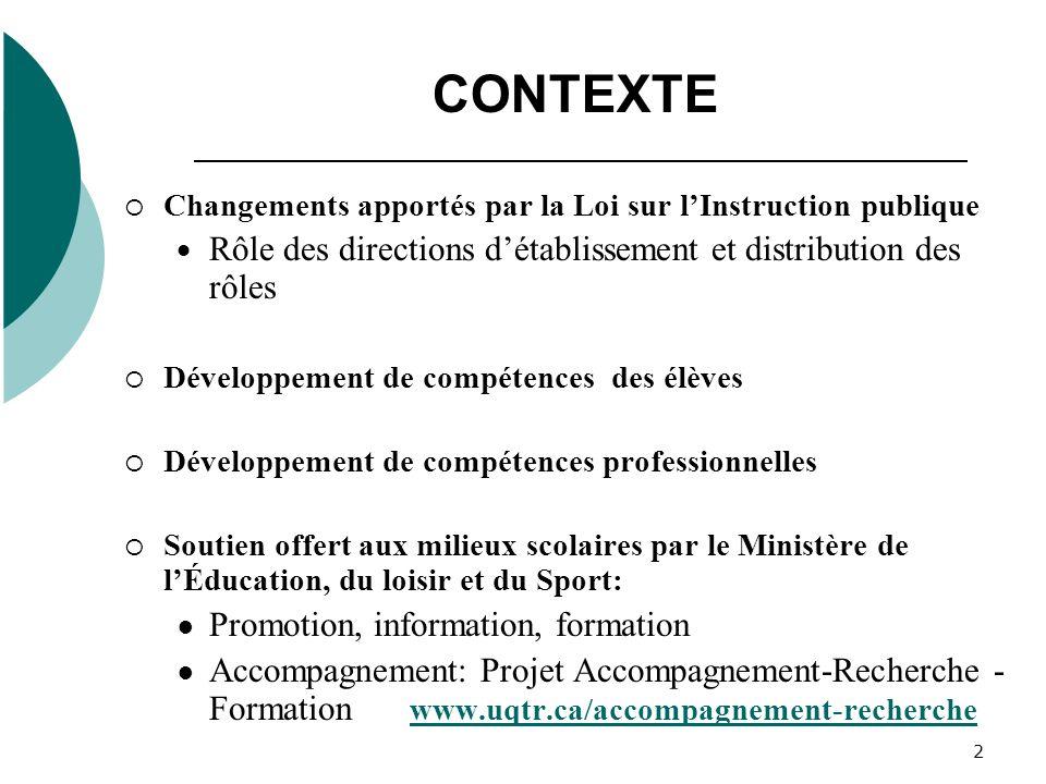 2 CONTEXTE Changements apportés par la Loi sur lInstruction publique Rôle des directions détablissement et distribution des rôles Développement de com