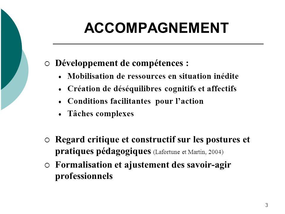 3 ACCOMPAGNEMENT Développement de compétences : Mobilisation de ressources en situation inédite Création de déséquilibres cognitifs et affectifs Condi