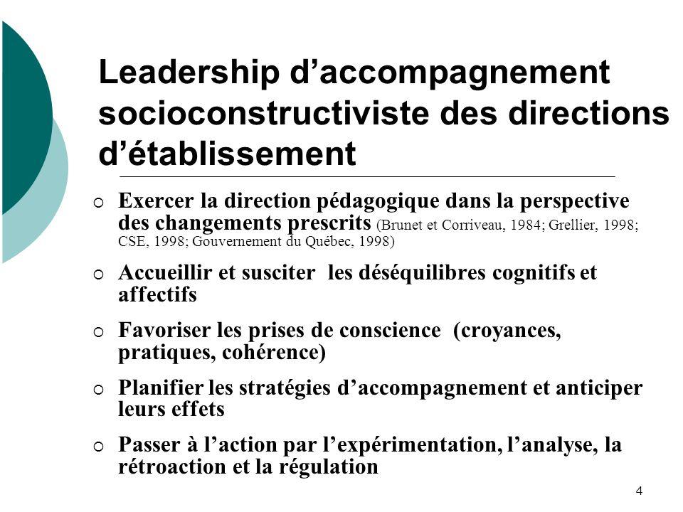 4 Leadership daccompagnement socioconstructiviste des directions détablissement Exercer la direction pédagogique dans la perspective des changements p