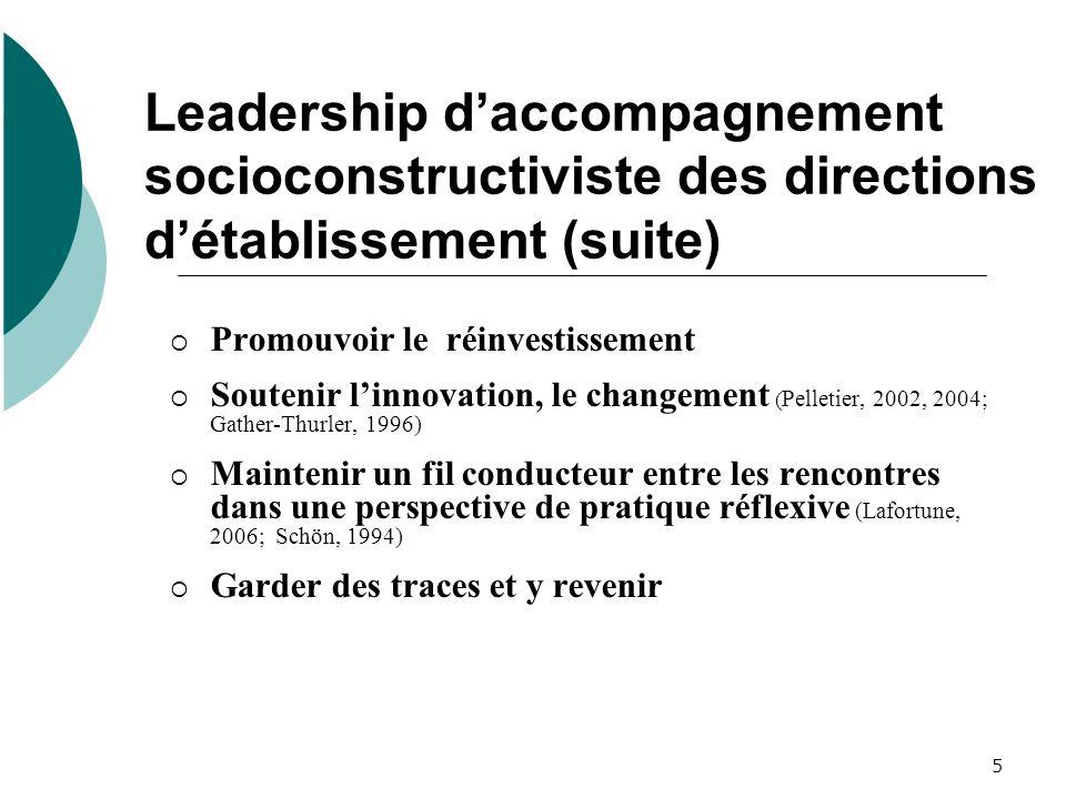 5 Leadership daccompagnement socioconstructiviste des directions détablissement (suite) Promouvoir le réinvestissement Soutenir linnovation, le change