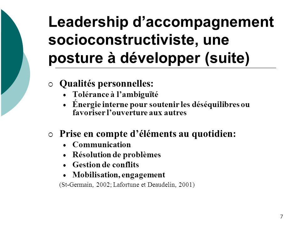 7 Leadership daccompagnement socioconstructiviste, une posture à développer (suite) Qualités personnelles: Tolérance à lambiguïté Énergie interne pour