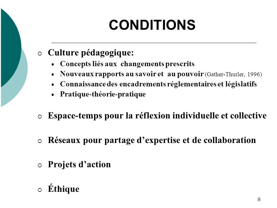 8 CONDITIONS Culture pédagogique: Concepts liés aux changements prescrits Nouveaux rapports au savoir et au pouvoir (Gather-Thurler, 1996) Connaissanc