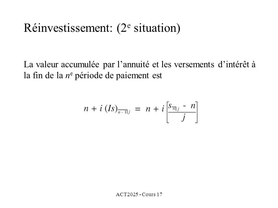 ACT2025 - Cours 17 La valeur accumulée par lannuité et les versements dintérêt à la fin de la n e période de paiement est Réinvestissement: (2 e situa