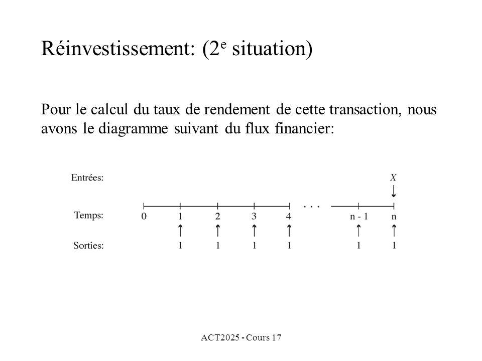 ACT2025 - Cours 17 Pour le calcul du taux de rendement de cette transaction, nous avons le diagramme suivant du flux financier: Réinvestissement: (2 e