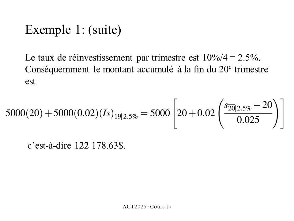 ACT2025 - Cours 17 Le taux de réinvestissement par trimestre est 10%/4 = 2.5%. Conséquemment le montant accumulé à la fin du 20 e trimestre est cest-à
