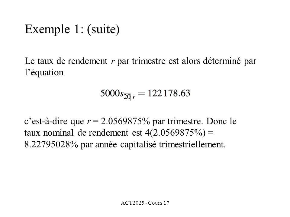 ACT2025 - Cours 17 Le taux de rendement r par trimestre est alors déterminé par léquation cest-à-dire que r = 2.0569875% par trimestre. Donc le taux n