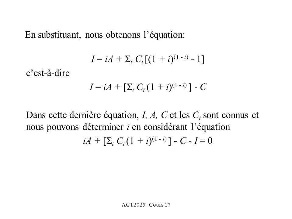 ACT2025 - Cours 17 I = iA + t C t [(1 + i) (1 - t) - 1] cest-à-dire I = iA + [ t C t (1 + i) (1 - t) ] - C Dans cette dernière équation, I, A, C et le