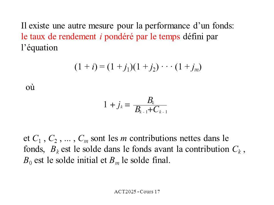 ACT2025 - Cours 17 Il existe une autre mesure pour la performance dun fonds: le taux de rendement i pondéré par le temps défini par léquation et C 1,