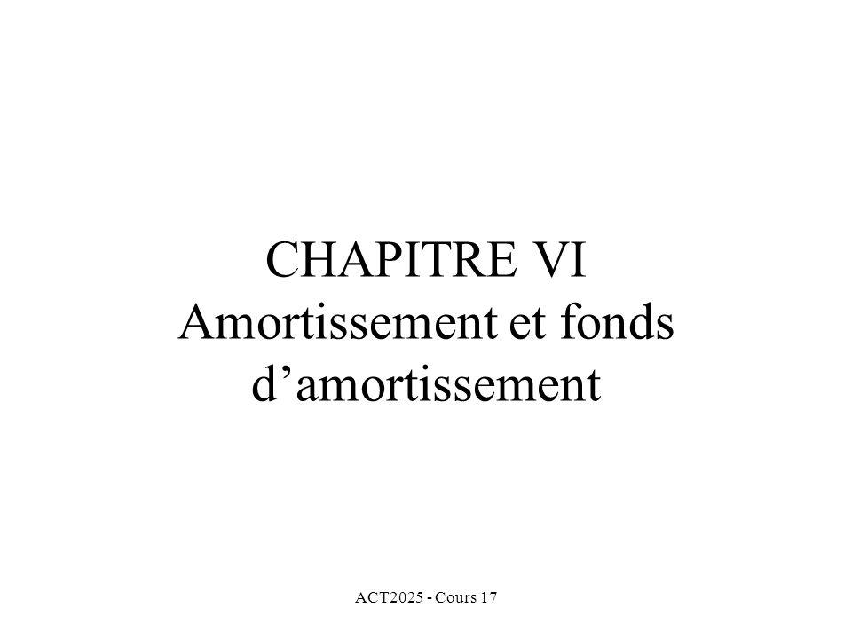 ACT2025 - Cours 17 CHAPITRE VI Amortissement et fonds damortissement