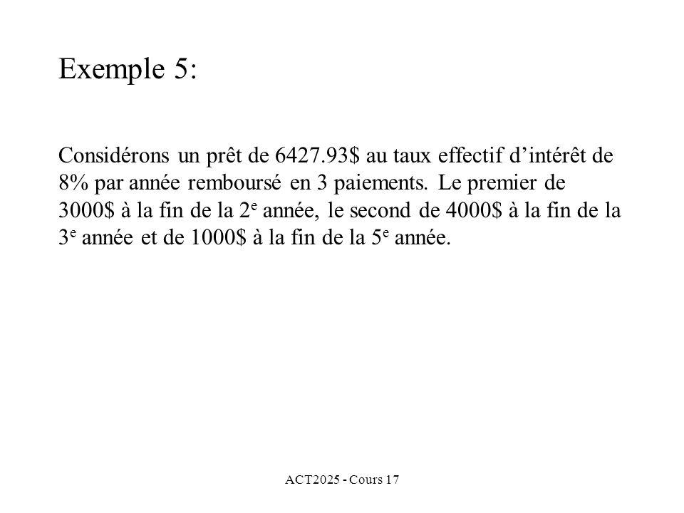 ACT2025 - Cours 17 Considérons un prêt de 6427.93$ au taux effectif dintérêt de 8% par année remboursé en 3 paiements. Le premier de 3000$ à la fin de