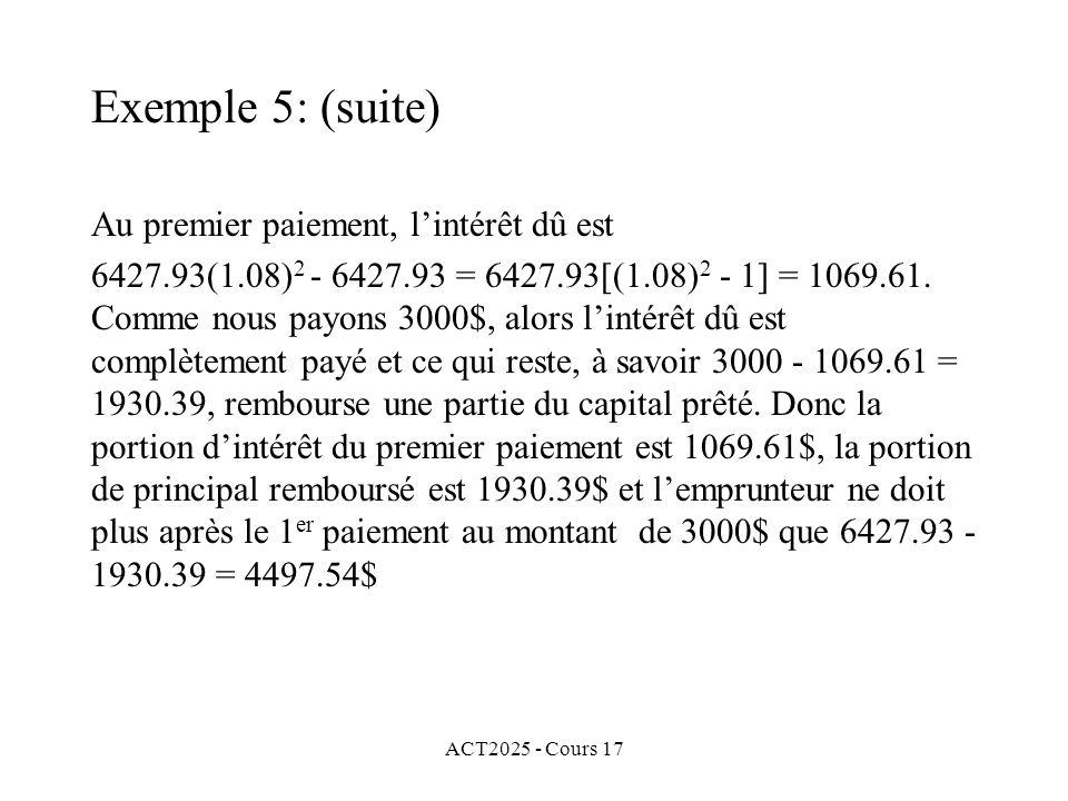 ACT2025 - Cours 17 Au premier paiement, lintérêt dû est 6427.93(1.08) 2 - 6427.93 = 6427.93[(1.08) 2 - 1] = 1069.61. Comme nous payons 3000$, alors li