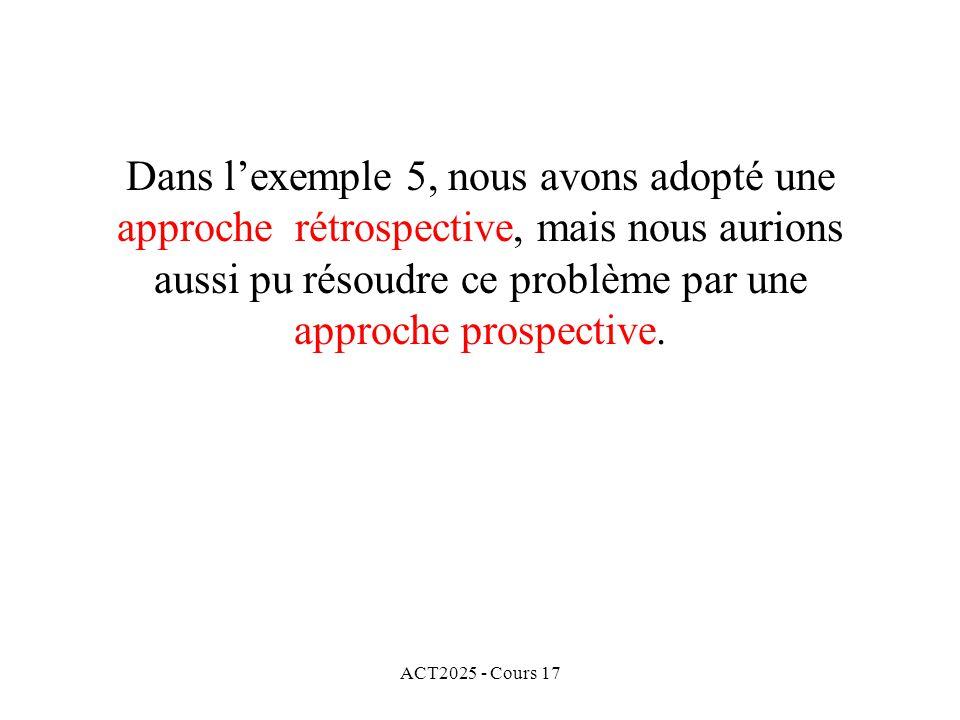 ACT2025 - Cours 17 Dans lexemple 5, nous avons adopté une approche rétrospective, mais nous aurions aussi pu résoudre ce problème par une approche pro