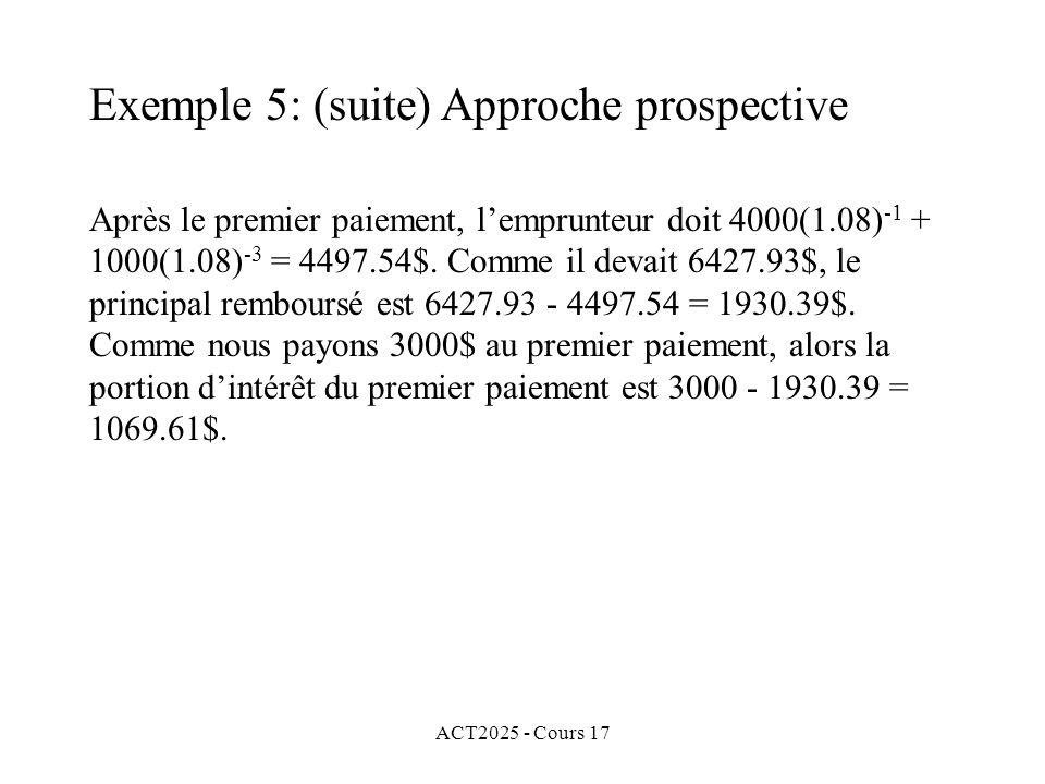 ACT2025 - Cours 17 Après le premier paiement, lemprunteur doit 4000(1.08) -1 + 1000(1.08) -3 = 4497.54$. Comme il devait 6427.93$, le principal rembou