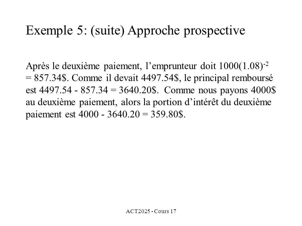 ACT2025 - Cours 17 Après le deuxième paiement, lemprunteur doit 1000(1.08) -2 = 857.34$. Comme il devait 4497.54$, le principal remboursé est 4497.54