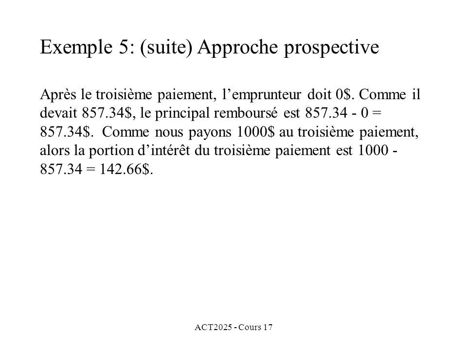 ACT2025 - Cours 17 Après le troisième paiement, lemprunteur doit 0$. Comme il devait 857.34$, le principal remboursé est 857.34 - 0 = 857.34$. Comme n