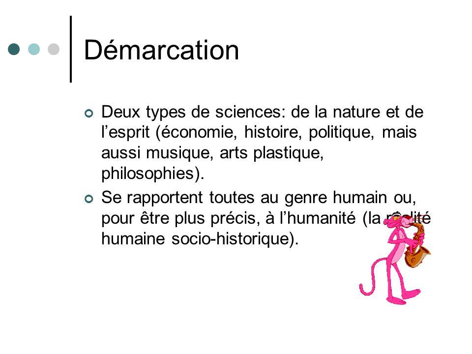 Démarcation Deux types de sciences: de la nature et de lesprit (économie, histoire, politique, mais aussi musique, arts plastique, philosophies). Se r