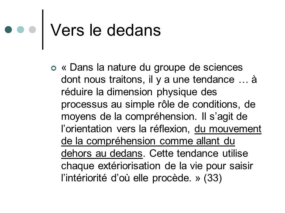 Vers le dedans « Dans la nature du groupe de sciences dont nous traitons, il y a une tendance … à réduire la dimension physique des processus au simpl