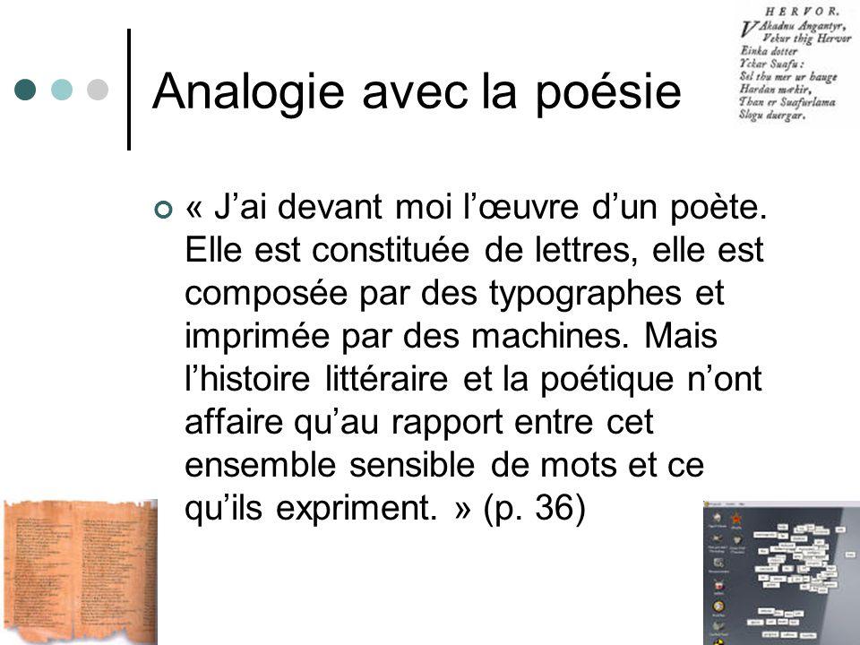 Analogie avec la poésie « Jai devant moi lœuvre dun poète. Elle est constituée de lettres, elle est composée par des typographes et imprimée par des m