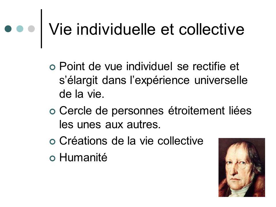 Vie individuelle et collective Point de vue individuel se rectifie et sélargit dans lexpérience universelle de la vie. Cercle de personnes étroitement