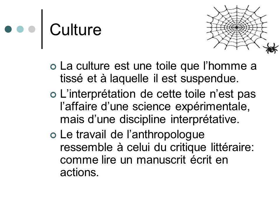 Culture La culture est une toile que lhomme a tissé et à laquelle il est suspendue. Linterprétation de cette toile nest pas laffaire dune science expé