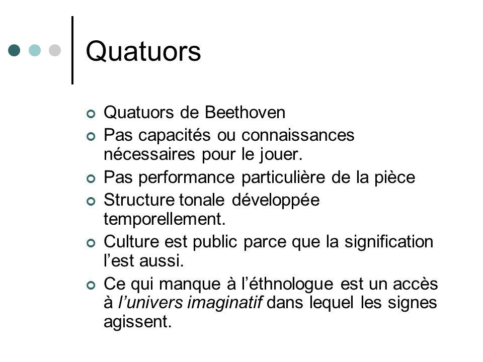 Quatuors Quatuors de Beethoven Pas capacités ou connaissances nécessaires pour le jouer. Pas performance particulière de la pièce Structure tonale dév