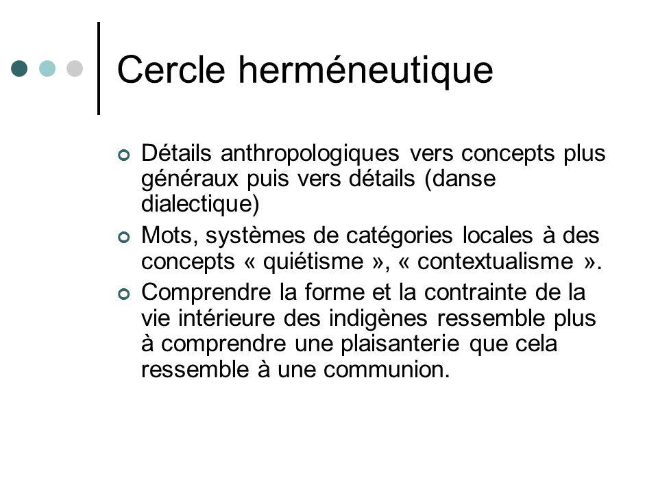 Cercle herméneutique Détails anthropologiques vers concepts plus généraux puis vers détails (danse dialectique) Mots, systèmes de catégories locales à