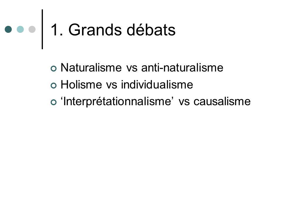 1. Grands débats Naturalisme vs anti-naturalisme Holisme vs individualisme Interprétationnalisme vs causalisme