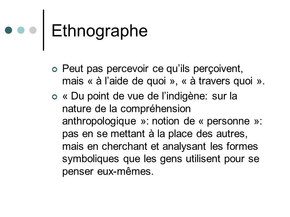 Ethnographe Peut pas percevoir ce quils perçoivent, mais « à laide de quoi », « à travers quoi ». « Du point de vue de lindigène: sur la nature de la