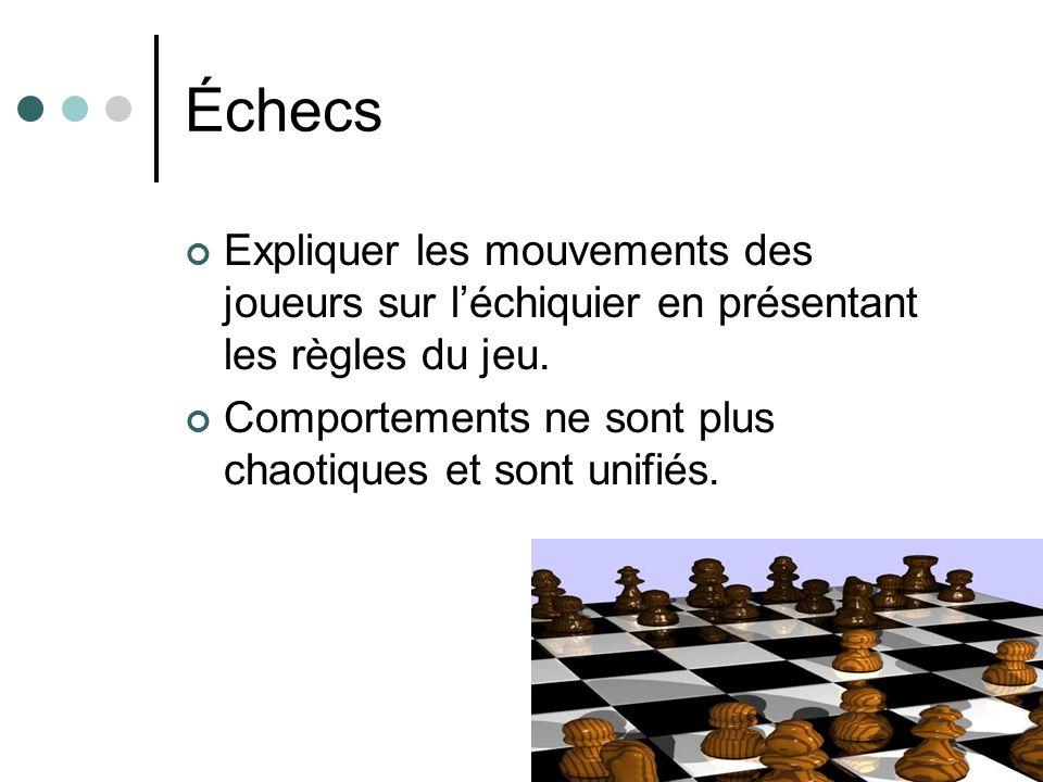 Échecs Expliquer les mouvements des joueurs sur léchiquier en présentant les règles du jeu. Comportements ne sont plus chaotiques et sont unifiés.