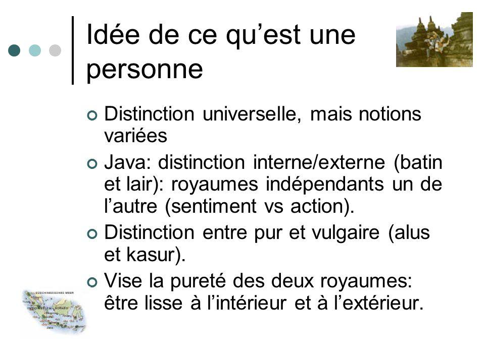 Idée de ce quest une personne Distinction universelle, mais notions variées Java: distinction interne/externe (batin et lair): royaumes indépendants u
